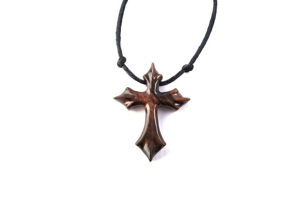 Mens Cross Necklace Christian Jewelry Wooden Cross Necklace