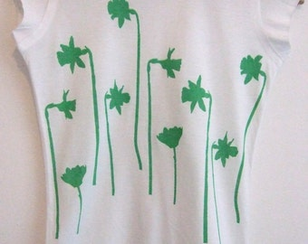 SALE Daffodils Womens hand printed cotton summer T shirt white and bright green