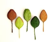 50 Mulberry Paper Leaves - Assorted rose leaves with wire stems - Great for wedding decorations, scrapbooking & flower arrangement