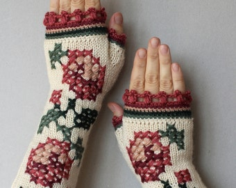 Hand Knitted  Fingerless Gloves, Gift Ideas, For Her, Winter Accessories, Gloves & Mittens, Ivory, Pink, Rose