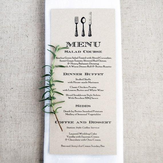"DIY Menu, Vintage Cutlery, 3.75 x 10"" Text Editable Template for Home Printing, Wedding Menu, INSTANT Dowload"