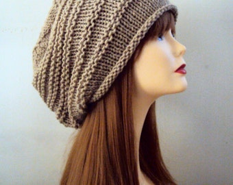 Knit Baggy Hat Chunky Taupe Celebrity Hat Women Men Dreadlock Rasta Hat  Fashion Accessories Gift Ideas