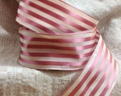 rose pink and creamy white striped ribbon