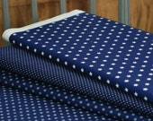 Star print fabric - half meter - 100% cotton - white on dark blue - quilting patchwork craft bunting doll toy making