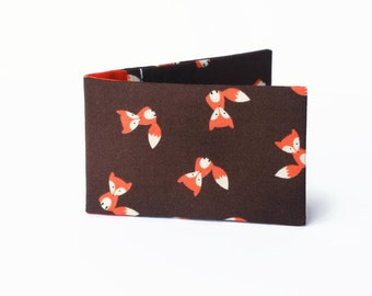 Credit Card Wallet, Oyster Card Holder, Business Card Case, Travel Card Wallet - Orange Fox on Brown