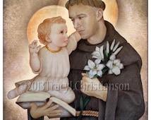 St. Anthony of Padua Art Print  Catholic Patron Saint #4057
