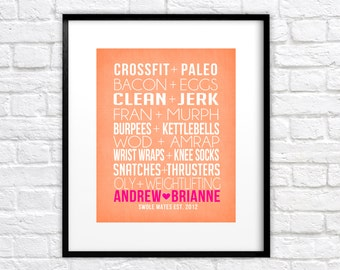 Crossfit Couple, Friends -  Custom Art Print, Pairs, Bacon, Eggs, Paleo, AMRAP, WOD, Fran, Swole Mates, Fit Couple, Fitness, OLY