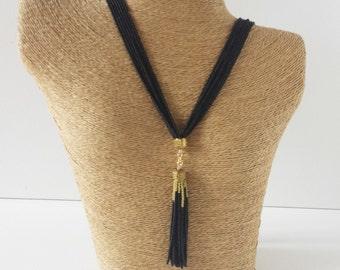 Black tassel necklace, long black necklace, tassel fringe necklace, statement necklace, boho, multistrand, beaded necklace,gold and black