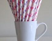 Pink and Purple Paper Straws Pink and Lavender Polka Dot Party Supplies Party Decor Bar Cart Cake Pop Sticks Mason Jar Straws Graduation