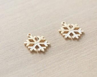 2 pcs of Pastel White Christmas Snowflake Enamel Gold Plated Zinc Alloy Pendants - 20 mm