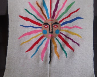 Vintage Mexican Sun Wall Hanging in Vibrant Colors
