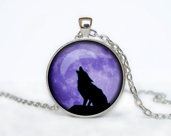 HOWLING WOLF necklace wolf pendant wolf jewelry gift for women gift for her gift for man handmade necklace gift idea halloween gift