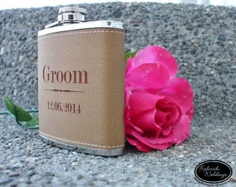 ONE Personalized Hip Flask - Custom Engraved Gift Flask - Custom Color Options - Wedding Gift, Bachelorette Gift, Anniversary Gift