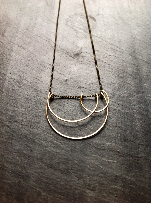 Geometric art deco hammered small cloud necklace minimalist for Minimal art jewelry