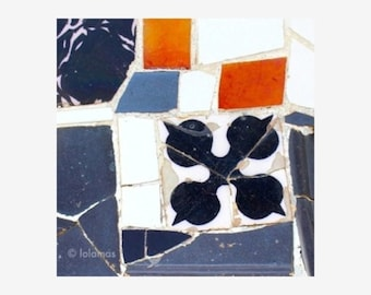 Modern wall art, Mosaic Tiles, Fine Art Photography, orange wall prints, Gaudi, Barcelona,