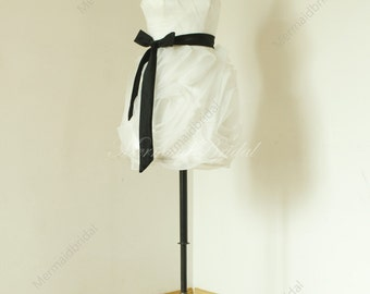 Knee length floral ruched short wedding dress, wedding gowns with black sash