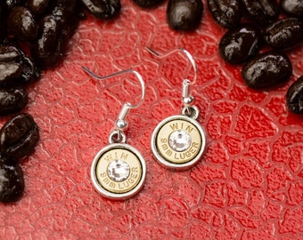 Bullet Casing Jewelry - Dangle Bullet Earrings (9mm) (Nickel Free)