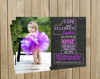 Vintage Chalkboard One First Birthday Invitation, Purple, Printable, Custom Digital File
