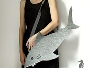 Felt Shark bag - purse - grey white - for fan of sea - handmade - sew by machine - fish
