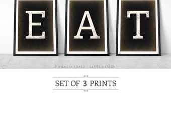Kitchen art. Set of 3 PRINTS. Kitchen print. Typographic print. Set of prints. Kitchen decor. Pastel colours. Pastel colors. Eat print