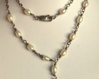 Vintage Freshwater Pearl and Silver Necklace With Small Silver Heart Pendant