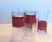 Set of 6 Gorgeous Burgundy, Tan and Metallic Gold Glasses Vintage Tumblers Den Man Cave Accessory