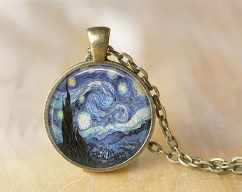 Starry Night Necklace, Vincent van Gogh, Starry Night Jewelry, Art Pendant, Van Gogh Art Jewelry, Pendant Necklace