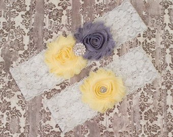 Wedding Garter, Bridal Garter Sets, Soft Yellow Wedding Garter, Bridal Garter, Lace Garter, White Lace Garter, Bridal gifts, Toss Garter