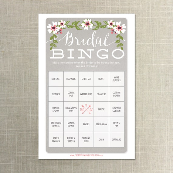 Instant Download 50 Bridal Shower Bingo By CreativeUnionDesign