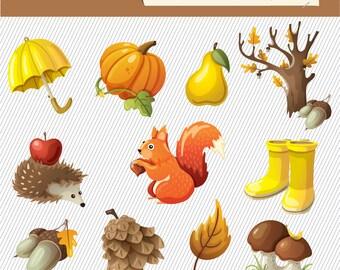 Autumn Season Clipart. Fall Harvest Clipart. Fall Season Illustration.. 107