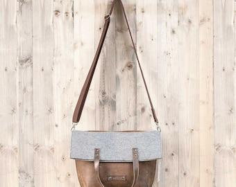 Crossbody bag leather felt satchel shoulder bag for autumn winter gift for her wife girlfriend women Christmas rustic