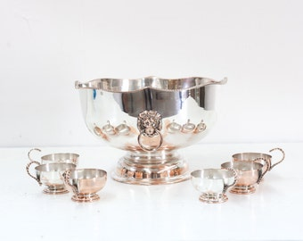 English Sheffield Silver Punch Bowl with Six Cups