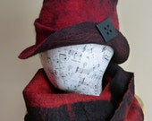 Hand Felted Women's Fedora Hat in Red and Black