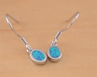 Blue Opal Earrings/925 Silver Opal Dangly Earrings/Opal Chandelier Earrings/Opal Jewellery/Opal Jewelry/Silver Blue Earrings/Opal Earrings