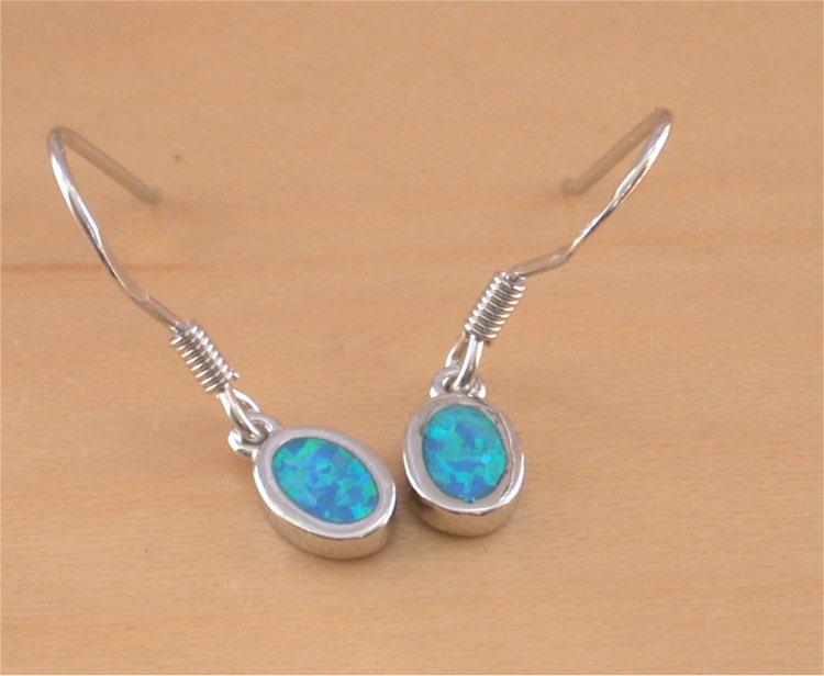 blue opal earrings 925 silver opal dangly by. Black Bedroom Furniture Sets. Home Design Ideas