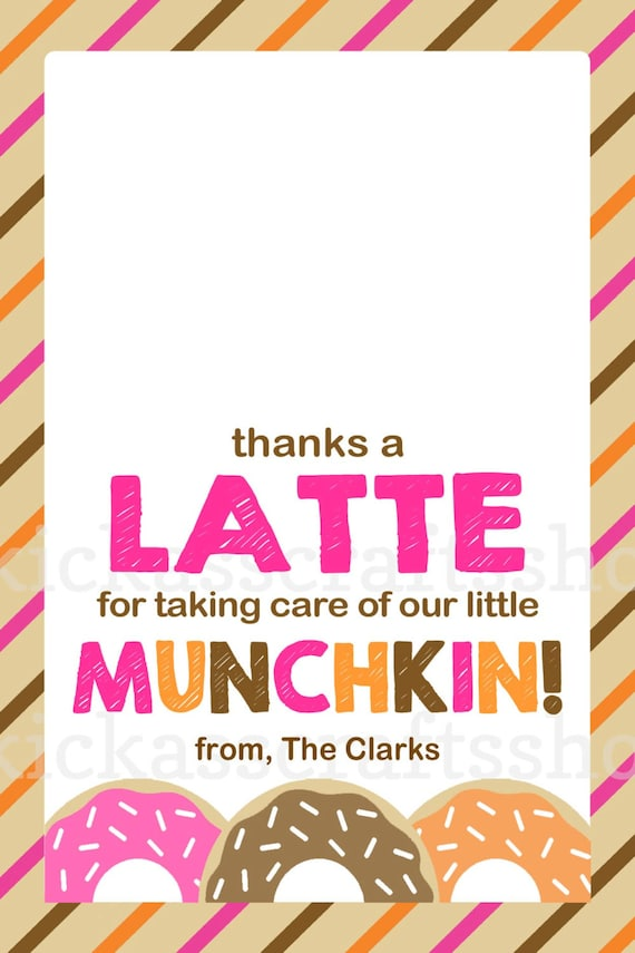 Printable Dunkin Donuts-Inspired Thanks a by KickAssCraftsShop