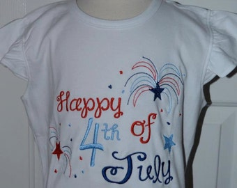 Personalized 4th of July Patriotic Fireworks Firecracker Flag Applique Shirt or Onesie Girl Boy