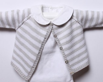 f66ac9274 Knitting pattern Striped Cardigan   Instructions in English PDF Instant  Download   Sizes newborn   3   6   9  12 months