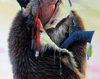 RAVEN QUEST - native american, indian, warrior, war shirt, portrait, spiritual, raven