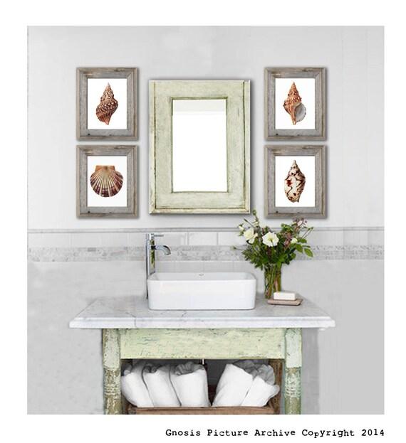 Bathroom Art Print Set Of 4: Set Of 4 Seashell Wall Art Prints Beach Themed Bathroom Wall