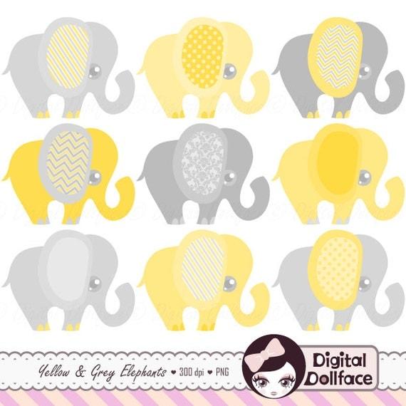Yellow and Gray Elephant Clip Art Baby Elephant Clipart