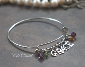 Personalized Family Name Bangle in Silver or Gold, Choose Your Birthstone, Family Jewelry, Family Bracelet