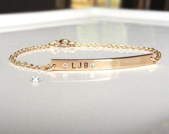 Nameplate Bracelet - Personalized Gold Bar Bracelet  - Tiny Diamond Name Bar Bracelet - Skinny Bar - Custom Stamped - Gold ID Bracelet