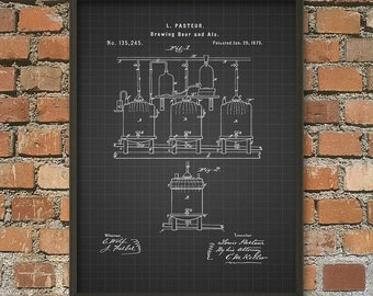 Beer and Ale Brewing Patent Print Wall Art Poster - Brewery Art Poster - Bar Room Wall Art - Tavern Art Print - Beer Patent - Beer Making