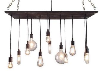 Urban Chandelier: Rustic Chandelier, Industrial Chandelier, Modern Lighting, Light Fixture, Reclaimed Wood Chandelier