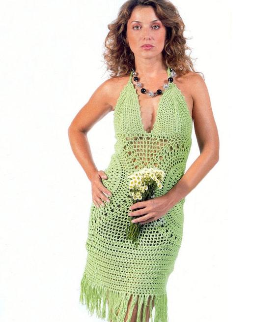 Free Crochet Plus Size Dress Pattern : Crochet halterneck dress PATTERN, crochet cocktail dress ...