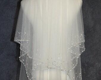 wedding veil, 2T beaded veil, fingertip veil, white ivory veil, handmade pearl veil + comb veil