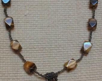 Tiger Heart: tigereye & dark grey glass beads, tigereye heart-shaped pendant
