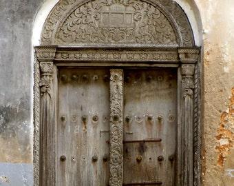 Zanzibar Door -Digital Photography, Door Photography, Rustic Door Photography, African Door, Zanzibar Decor, Door Print, Grey Door, Zanzibar