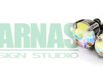 CRYSTAL AB Rivoli 8mm Crystal Stud Earrings Made With Swarovski Elements *Pick Your Metal *Karnas Design Studio *Free Shipping*